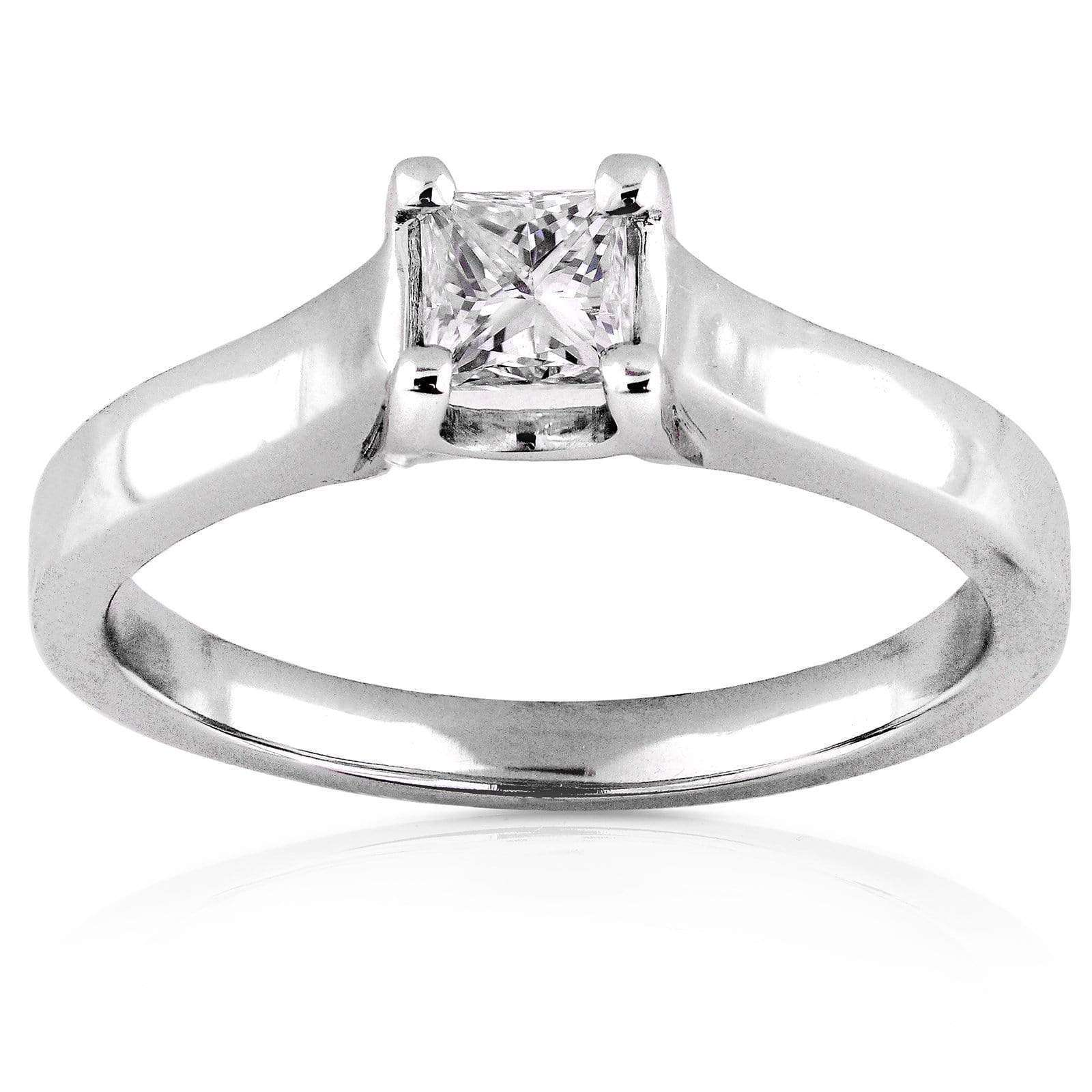 Promos Diamond Engagement Solitaire Ring 1/3 Carat in 14K White Gold - 4