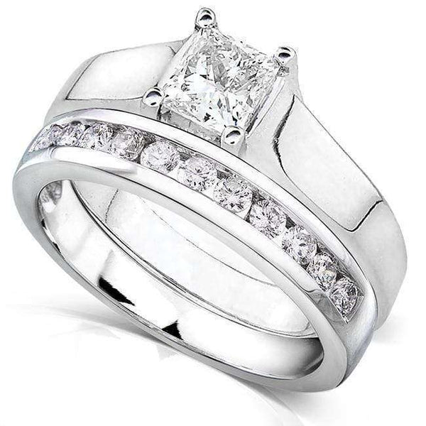 Kobelli Princess Cut Diamond Bridal Set 7/8 Carat (ctw) in 14K White Gold