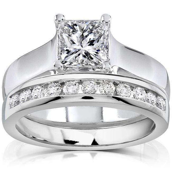 Kobelli Princess Cut Diamond Bridal Set 1 1/3 Carat (ctw) in 14K White Gold