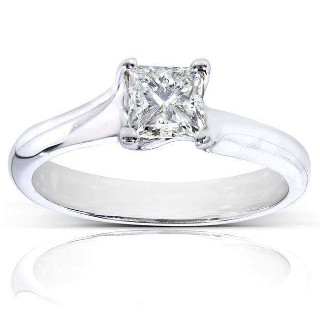 Promos Princess Cut Solitaire 1/2 carat (ctw) in 14k White Gold (Certified) - 4