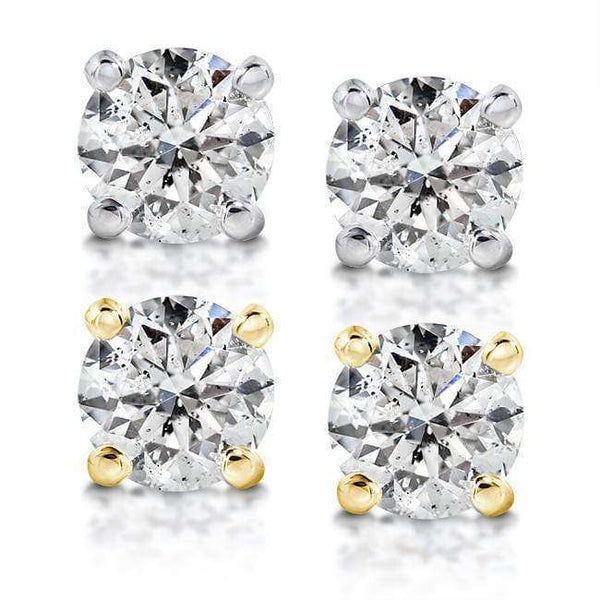 Kobelli Round Diamond 4-Prong Stud Earrings 3/4ct.tw 14K White or Yellow Gold