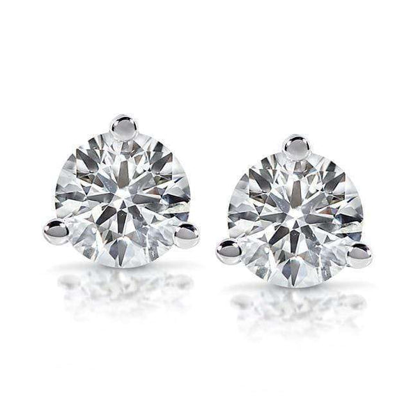 Kobelli Diamond Round Brilliant Solitaire Stud Earrings 3/4 CTW 14k White Gold (Certified) 5676-75