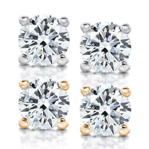 Kobelli Diamond Stud Earrings 1 Ctw in 14K White or Yellow Gold