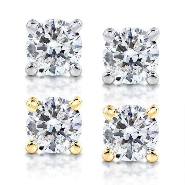 Kobelli Round Diamond 4-Prong Stud Earrings 1/2ct.tw 14K White or Yellow Gold