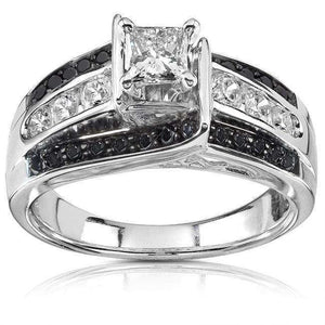 Black & White Diamond Engagement Ring 7/8ctw 14K White Gold