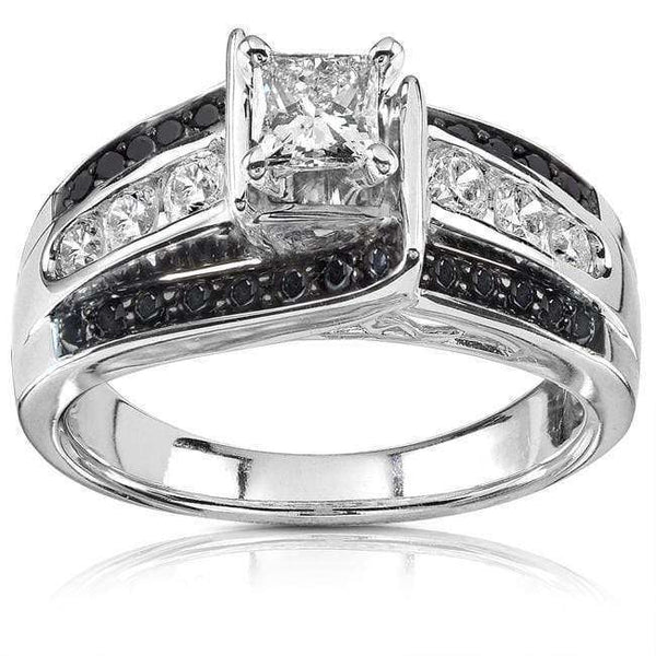 Kobelli Black & White Diamond Engagement Ring 7/8ctw 14K White Gold