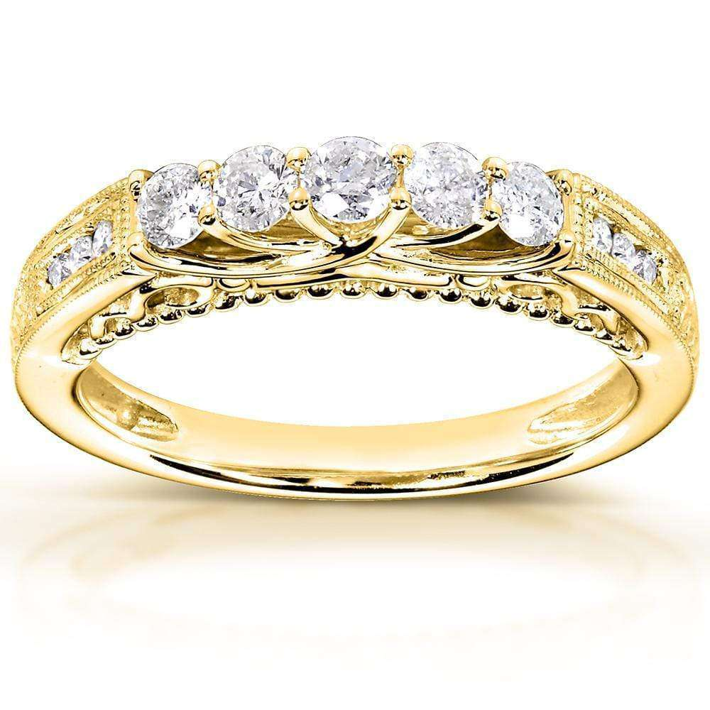 Coupons Round Diamond Wedding Band 1/2 CTW in 14K Yellow Gold - 9.5