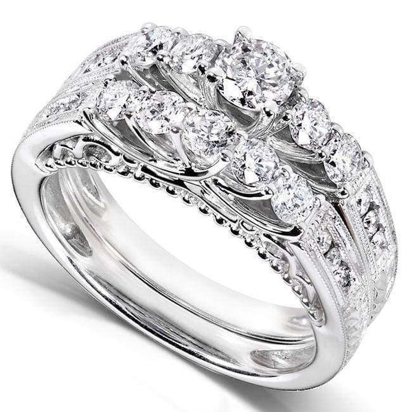 Kobelli Diamond Five Stone Trellis Floral Bridal Set 1-1/4ct.tw