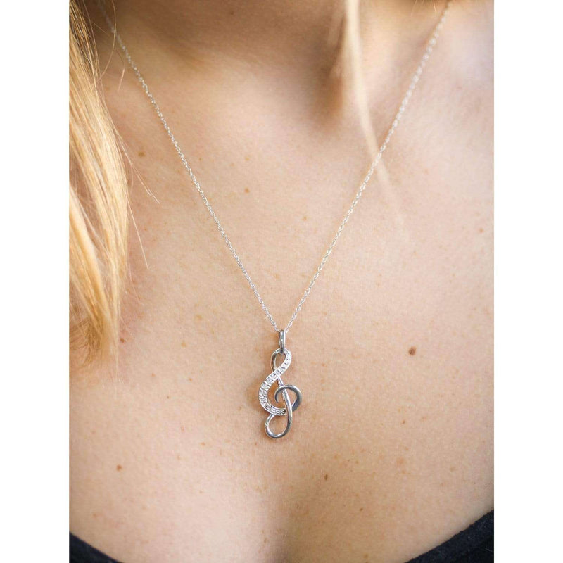 Kobelli Diamond Musical Note (Treble Clef) Pendant & Chain in 14K Gold