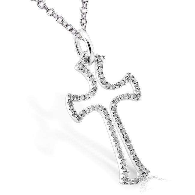 Kobelli Diamond Cross Pendant 1/4 carat (ctw) in 14k White Gold 61128SM