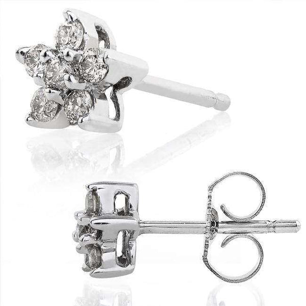 Kobelli Diamond Floral Stud Earrings 1/6 carat (ctw) in 14k White Gold 61151DM