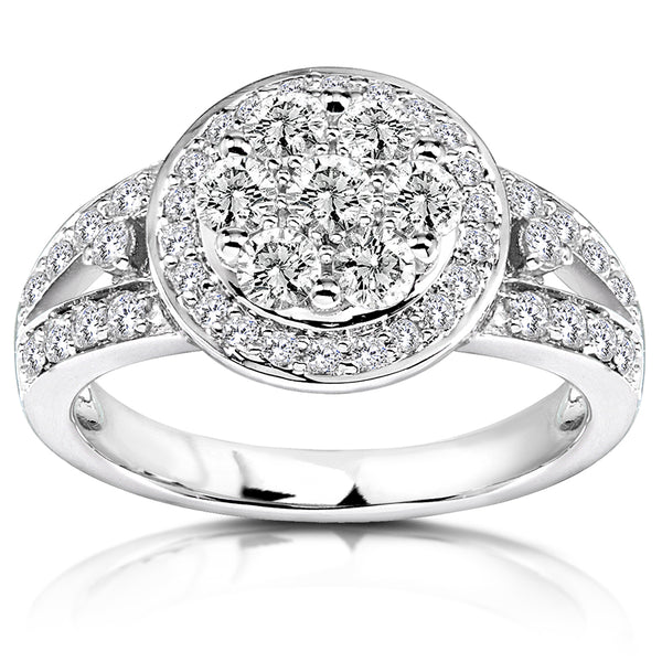 Diamond Engagement Ring 7/8 carat (ctw) in 14K White Gold
