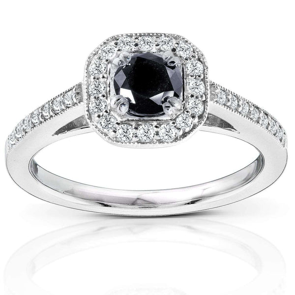 Kobelli Black and White Round Diamond Halo Ring 3/4 CTW in 14k White Gold