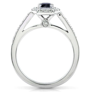 Black and White Round Diamond Halo Ring 3/4 CTW in 14k White Gold