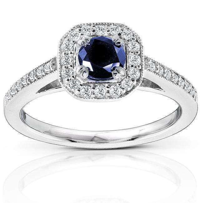 Promos Round-cut Sapphire and Diamond Engagement Ring 7/8 Carat (ctw) in 14k White Gold - 4.5