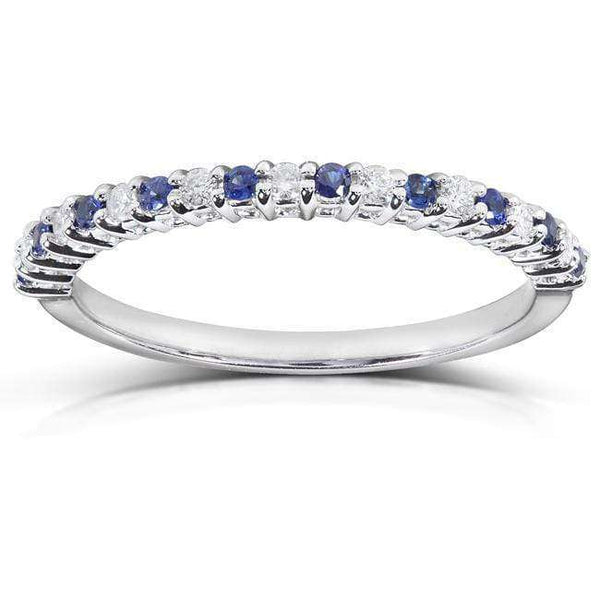 Kobelli Round Diamond & Blue Sapphire Band 1/4 carat (ctw) in 14kt White Gold