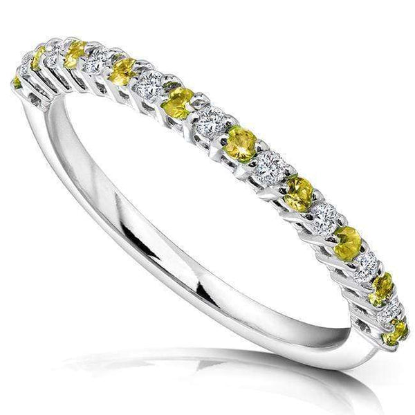 Kobelli Diamond and Yellow Sapphire Band 1/4 carat (ctw) in 14k White Gold