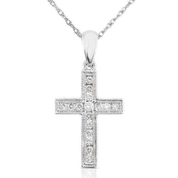 "Kobelli Diamond Cross Pendant 1/6 carat (ctw) in 14K Gold (18"" Chain) 61217DM_WG"