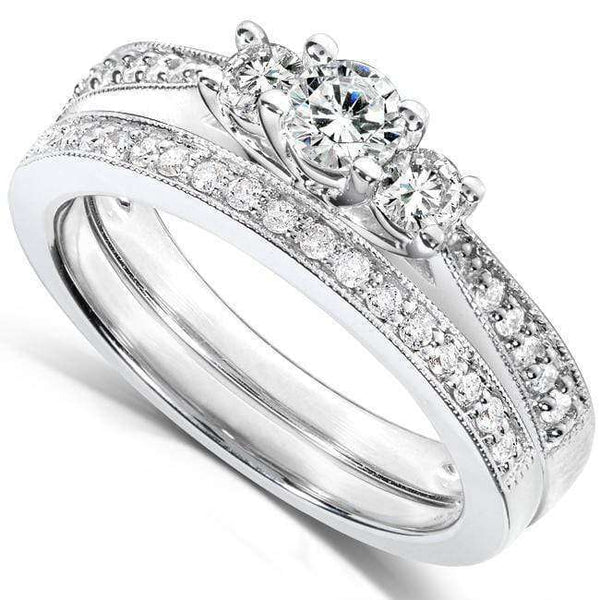 Kobelli Round Diamond 3-Stone Bridal Set 2/5ct.tw 14K White Gold