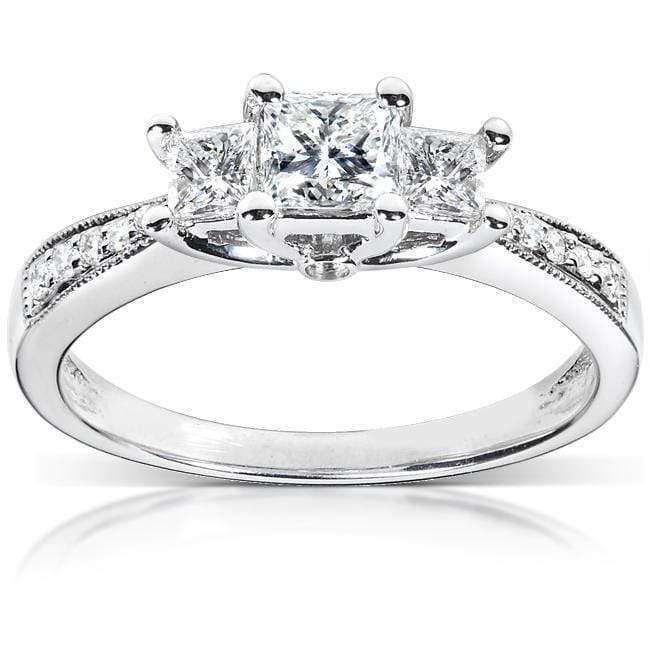 Kobelli Princess Diamond 3-Stone Bridal Set 1/2ct.tw 14K White Gold