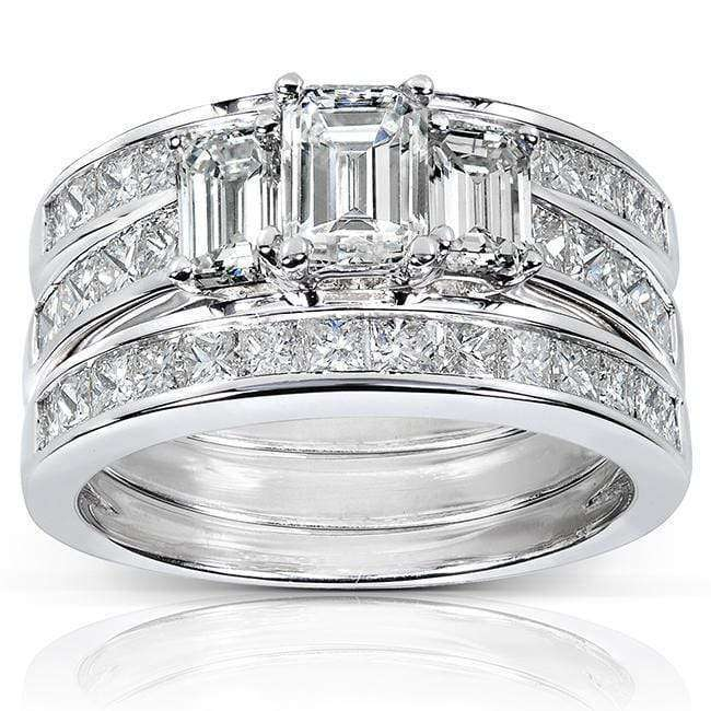 Top Diamond Engagement Ring and Wedding Band Set 2 1/2 carat (ctw) in 14k White Gold (3 Piece Set) - 5.5