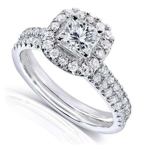 Princess-cut Diamond Bridal Ring Set 7/8 Carat (ctw) in 14k White Gold