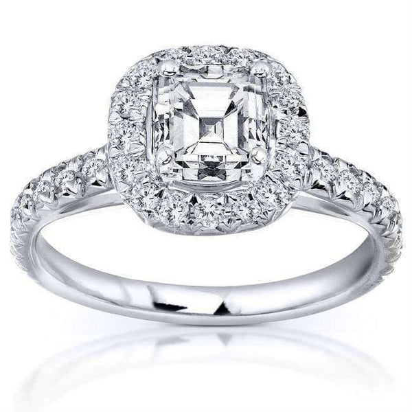Kobelli Asscher Cut Diamond Engagement Ring 1 2/5 Carat (ctw) in 14K White Gold (Certified)
