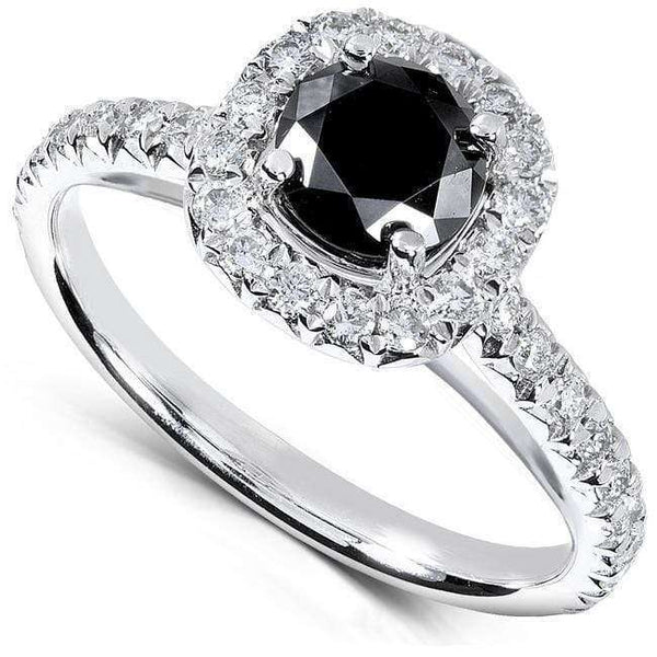 Kobelli Black and White Diamond Engagement Ring 1 1/6 carat (ctw) in 14k White Gold