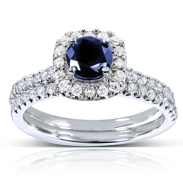 Kobelli Blue Sapphire and Diamond Halo Bridal Set 7/8 CTW in 14k White Gold