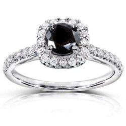 Kobelli Round Brilliant Black and White Diamond Engagement Ring 3/4 carats (ctw) in 14k White Gold