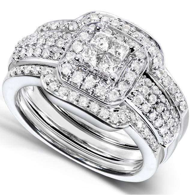 Top Princess Diamond Wedding Set 3/4 carat (ctw) in 14k White Gold - 3 Piece Set - 8