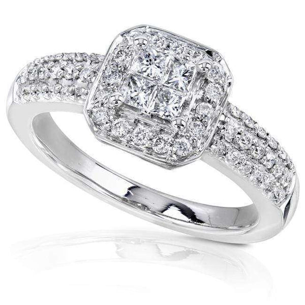 Kobelli Halo Invisible Cluster Diamond Engagement Ring 1/2ct.tw 14K White Gold