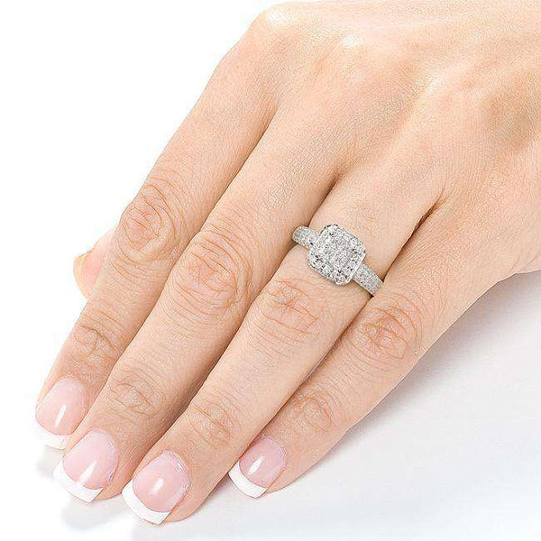 Halo Invisible Cluster Diamond Engagement Ring 3/4ct.tw 14K White Gold