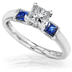 Kobelli Blue Sapphire and Diamond Engagement Ring 1 Carat (ctw) In 14k White Gold