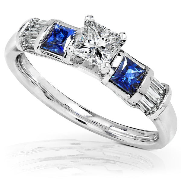 Blue Sapphire & Diamond Engagement Ring 3/4 Carat (ctw) In 14k White Gold