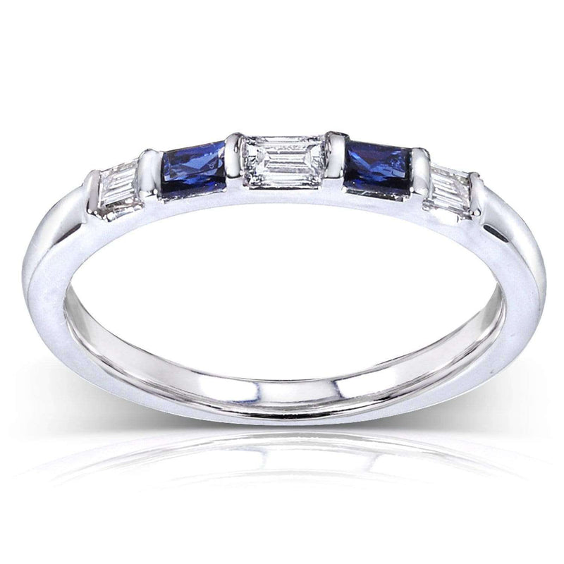 Kobelli Blue Sapphire and Diamond Ring 1/4 Carat (ctw) In 14k White Gold