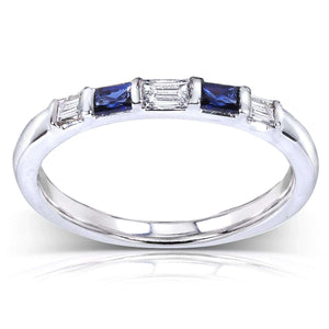 Blue Sapphire and Diamond Ring 1/4 Carat (ctw) In 14k White Gold