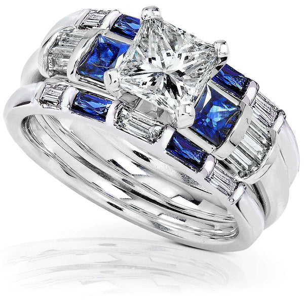 Kobelli Blue Sapphire & Diamond Wedding Rings Set 2 2/5 carat (ctw) In 14k White Gold (3 Piece Set)