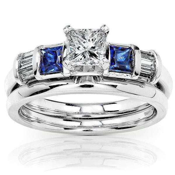 Kobelli Blue Sapphire and Diamond Bridal Set 1ct.tw 14k White Gold