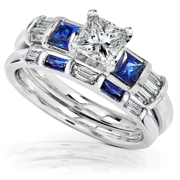 Kobelli Blue Sapphire & Diamond Wedding Rings Set 1 1/2 Carat (ctw) In 14k White Gold