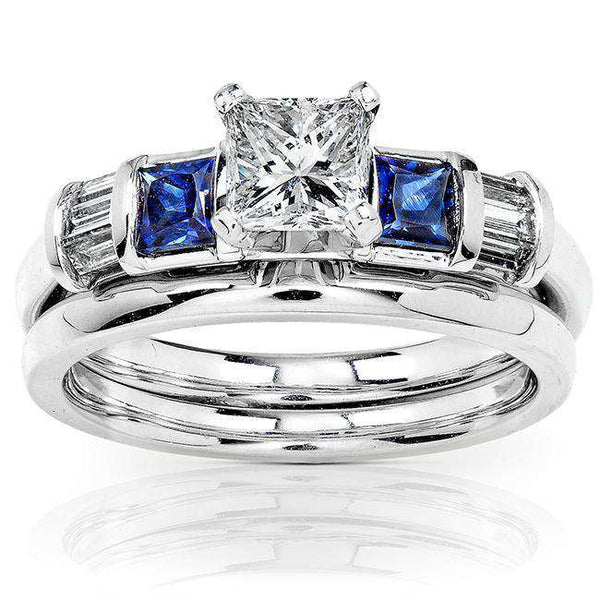 Blue Sapphire & Diamond Wedding Rings Set 1 1/5 Carat (ctw) In 14k White Gold