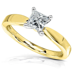 Princess Diamond 1/2ct Solitaire Taper Shank Ring 14k Gold