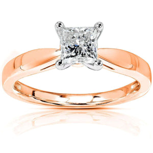 Kobelli Princess Diamond 1/2ct Solitaire Taper Shank Ring 14k Gold