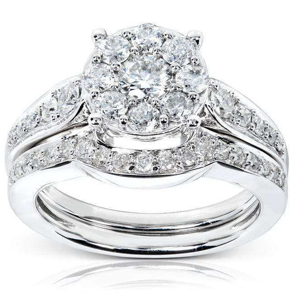 Kobelli Round Brilliant Cluster Diamond Bridal Set 7/8 carat (ctw) in 14k White Gold