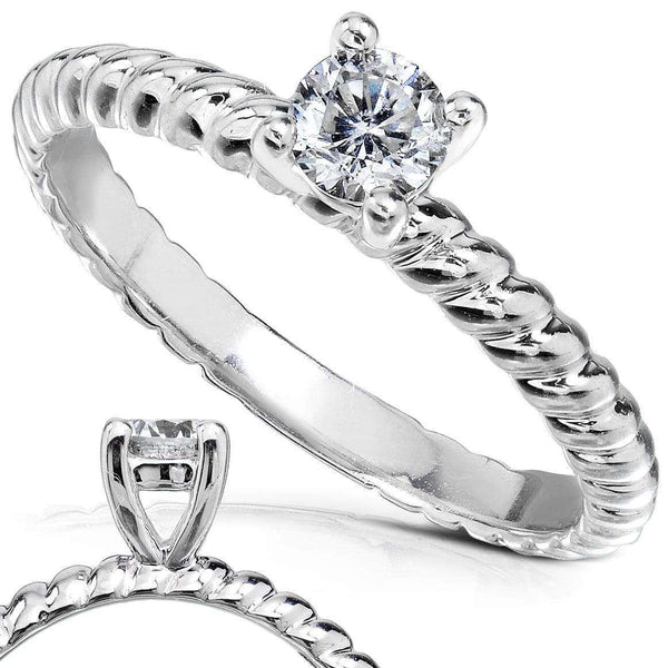 Kobelli Diamond Twisted Solitaire Engagement Ring 1/4 CTW in 14k White Gold