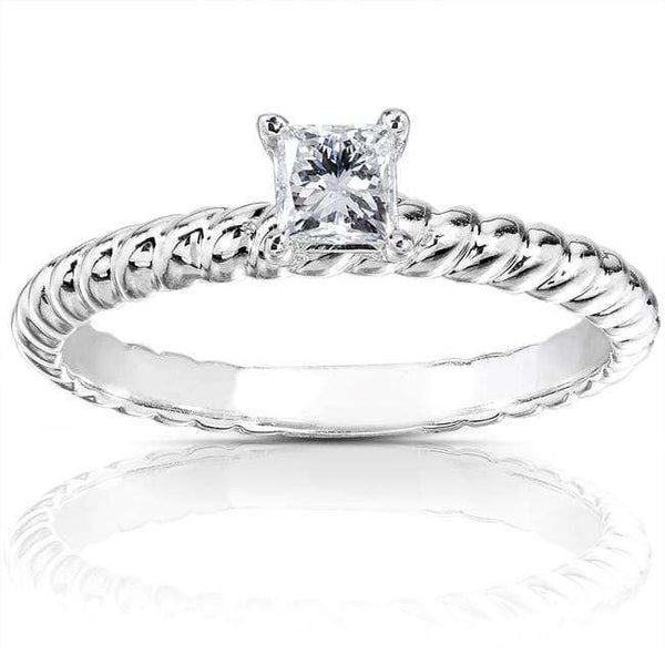 Kobelli Princess Diamond Twisted Solitaire Engagement Ring 1/4 CTW in 14k White Gold