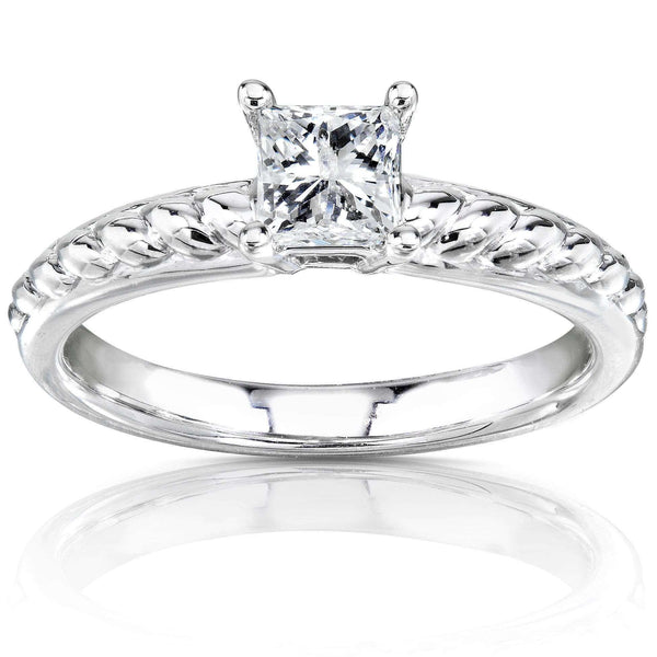 Kobelli Princess Diamond Solitaire Twist Engagement Ring 1/2 Carat (ctw) in 14k White Gold
