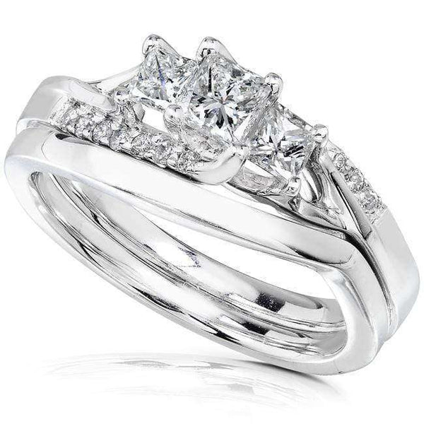 Kobelli Slanted Diamond Bridal Set 1/2t.tw 14K White Gold