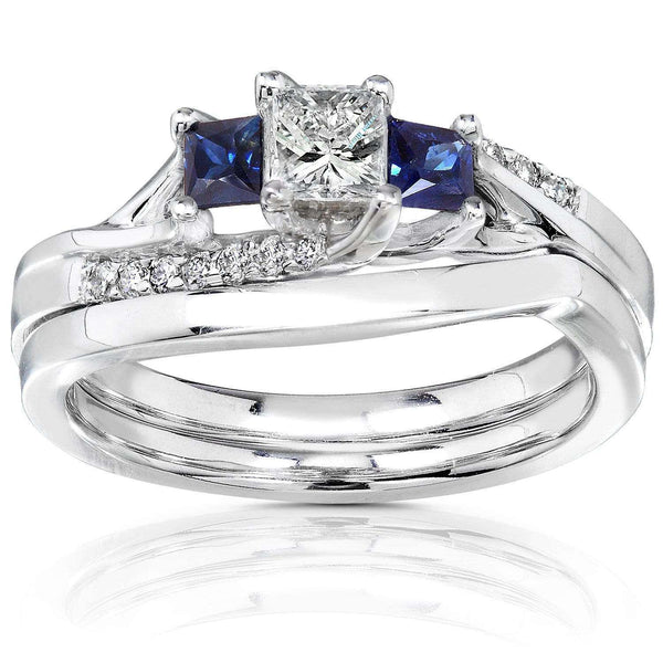 Kobelli Diamond and Sapphire Bridal Set 3/5 Carat (ctw) in 14K White Gold
