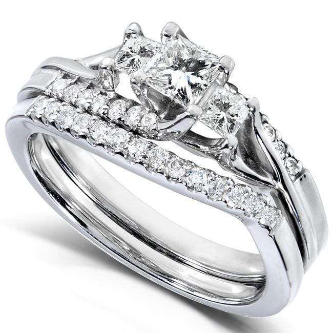 Coupons Asymmetric Princess Diamond Bridal 3/4ct.tw 14k White Gold - 7